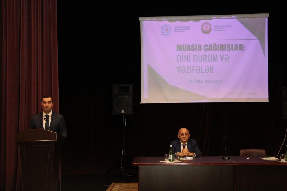"""Şamaxıda """"Müasir çağırışlar: dini durum və vəzifələr"""" mövzusunda regional konfrans işə başlayıb"""