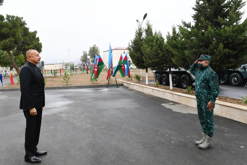 Prezident İlham Əliyev Cəbrayılda Dövlət Sərhəd Xidmətinin hərbi hissə kompleksinin açılışını edib
